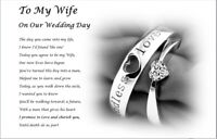 TO MY BRIDE on our wedding day - personalised wedding keepsake from groom