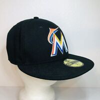 Miami Marlins MLB New Era 59Fifty Fitted Hat/Cap Black US Flag On-Field 7-1/8