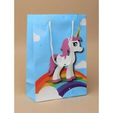 Gift Bags 12 PACK UNICORN Cord Handle Fold Top Wholesale Party H20xW14xD7cm.