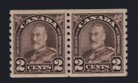 Canada Sc #182 (1931) 2c dark brown KGV Arch Coil Pair Mint VF NH
