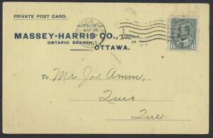 1907 Massey-Harris Co PPC, Ottawa to Quyon Que, Shipment Notice