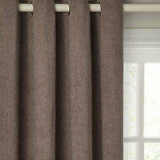 "JOHN LEWIS Hatch Chenille Lined Eyelet Top MOCHA Curtains-66""Wx72""D/167cmx182cm"