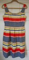 Women's Nine West Multi-Color Stripe Dress Fit & Flare Size 10 Regular Pockets