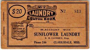 Merchant Scrip: $20 Coupon Book: Sunflower Laundry, R H Caughey, Clarksdae, Miss