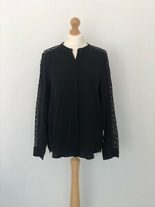 RRP £109 Michael Kors Oversized Black Lace Sleeve Blouse Size L