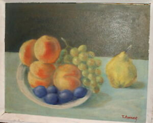 VINTAGE IMPRESSIONIST OIL PAINTING STILL LIFE WITH FRUITS SIGNED