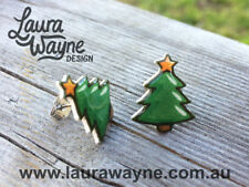 Christmas Tree Stud Earrings -Handmade -Jewellery Gift Cartoon Ear Studs Costume