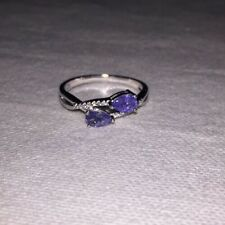 $399 GenuinePear 5x4mm Top Rich Blue Violet Tanzanite 925 Sterling Silver Ring 9