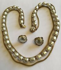 VINTAGE MIRIAM HASKELL SIGNED BAROQUE PEARL NECKLACE AND EARRINGS