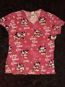 Disney Mickey and Minnie scrub top size M