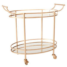BRASS & MIRROR OVAL BAR CART TROLLEY Drinks Gold Handles Serving Tea Trays
