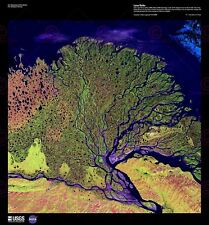 La science Carte Satellite Lena Delta River Sibérie Russie Toile Art Imprimé