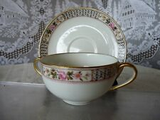 Charles Ahrenfeldt LIMOGES FRANCE Set 4 SOUP CUP & SAUCER SETS Wright, Tyndale..