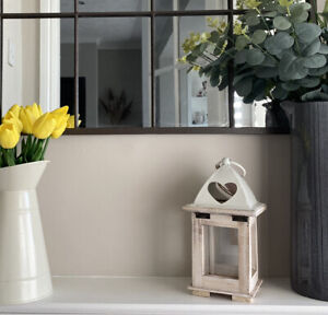 wooden Lantern with metal heart detail lid, tealight holder, rustic home decor