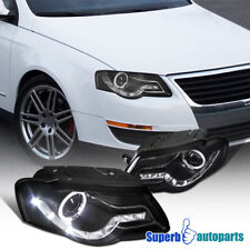 For 2006-2010 Passat Halo Projector Headlights+SMD LED Lamps Black