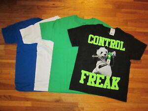 New LOT of 4 t-shirt BOY L 10-12 solid colors mix match COTTON