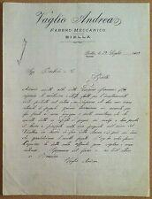 Carta Intestata - Biella - Vaglio Andrea - Raccomandata - 1909