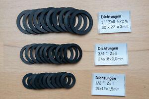 Gummidichtungen für Überwurfmuttern FLACHDICHTUNG 1/2  3/4  1 Zoll EPDM