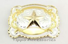 Large Gold/Silver Texas Star Western Rodeo Cowboy Metal Fashion Belt Buckle