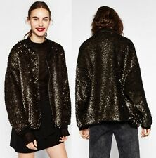 Zara Black Fleece oversize métallisé or paillettes Bomber Jacket 8073/252 S
