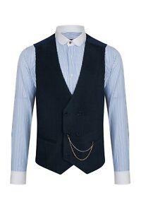 Jack Martin - Navy Corduroy Wool Double Breasted Waistcoat