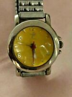 Retro Unique Time Design TD Dome Yellow Dial Expandable Bracelet Ladies Watch
