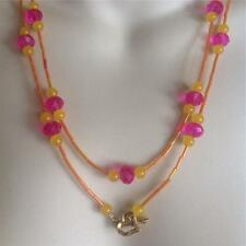 Handmade Long Wrap around Necklace, Vibrant Glass Beads, great for layering!