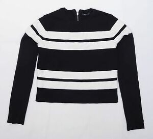 Zara Womens Size L Striped Black Jumper (Regular)