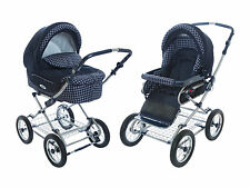 Roan Kortina Pram Stroller 2-in-1 with Bassinet and Seat (Navy - Chequered) New