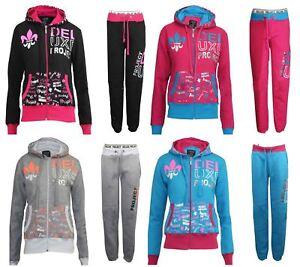 Womens Printed Tracksuit Girls Gym Casual Ladies Sports Wear Top Hoodie Bottom