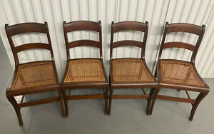 Set of 6 Antique Vintage Carved Wood Cane Seat Side Accent Dining Chairs