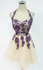 MASQUERADE Plum Ivory Dance Prom Party Dress 9 - $95 NWT