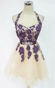 MASQUERADE Plum Ivory Dance Prom Party Dress 7 - $95 NWT