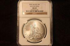 2002 Belize $1 Silver Coin Mayan King NGC MS 69  BEAUTIFUL