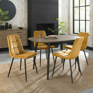 2 Pack Dining Chairs Upholstered Tapered Back Square Stitch In Mustard Velvet