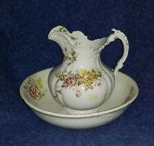 Antique Porcelain Pitcher and Wash Basin Bowl Set  Floral with Gold Trim