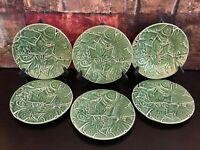"6 Bordallo Pinheiro Leaf Green Salad PLATEs Majolica Portugal Art 8.125"" MINT"
