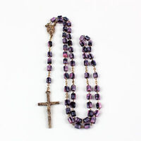"""Vintage 16"""" Purple Glass Bead Silver Toned Rosary"""