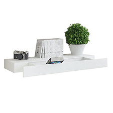 White Floating Wall Shelf with Drawer , Concealed Mounting Bracket and Hardware