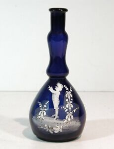 1890 MARY GREGORY COBALT BLUE ENAMEL DECORATED VICTORIAN ART GLASS BARBER BOTTLE