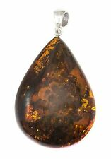 Baltic Amber Necklace Large Pendant Dark Honey Sterling Silver Natural Teardrop