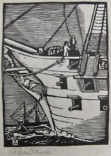 "Allen Lewis Woodcut Print Of A Warship With Canons Signed In Pencil 9"" X 6 1/4"""