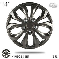 """New 14"""" Hubcaps ABS Gunmetal Finish Performance Wheel Covers Set For Ford 555"""