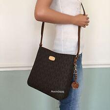NEW MICHAEL KORS Large Brown Signature PVC Messenger Shoulder Crossbody Bag Purs