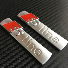 2 Pcs OEM S Line Sline Alloy Chrome Matt Sticker 3D Emblems Badge Decal For AUDI
