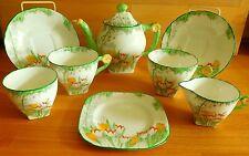 ART DECO Delphine China Tea for Two avec fleur Poignées Émaillée tulipes