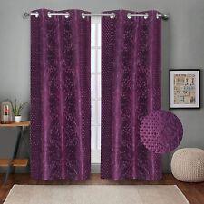 Embossed Self Design Curtains Long Door 9 feet- Pack of 2 Wine