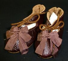 "75mm DB LEATHER SHOES  for ANTIQUE DOLL , ""Jumeau""  Shoes , Doll Clothes"
