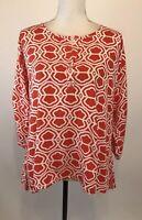 Escapada Women's Size M 3/4 Sleeve Orange White Rayon Tunic Top Blouse  EUC