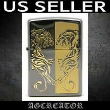New Japan Korea zippo lighter black leopard RE black ice gold plated engraved